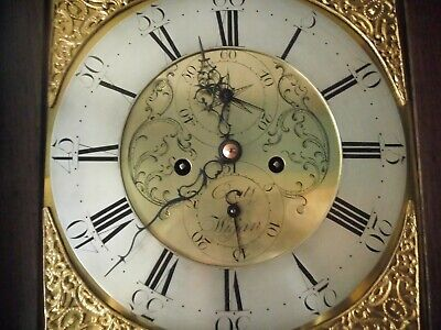 Oak & Mahogany 8 Day Brass Dial Longcase Clock Signed Coates Wigan