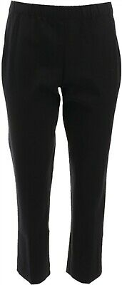 Susan Graver Coastal Stretch PullOn Crop Pants Comfort Black 4 NEW A263821