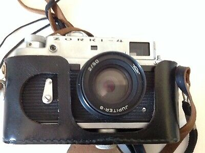Vintage Zorki 4 - 35mm Rangefinder Camera Jupiter 8 Lens & Original Leather Case