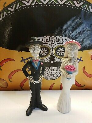 Day of The Dead Wedding Couple Bride and Groom Figurine DOD Skeleton Skull 5.5