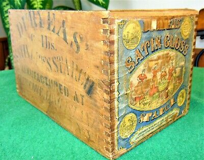 ANTIQUE Duryeas Satin Gloss Starch  Wooden Wood Dovetail Crate Paper Label NY PA