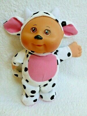 "Cabbage Patch Kids Cuties Plush 10"" doll in spotted cow costume"