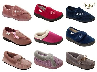 Ladies Dr Keller Diabetic Orthopaedic Wide Fit Adjustable Slippers Womens Size
