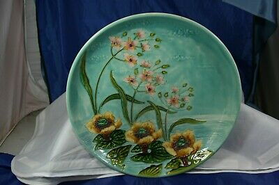 ancien grand plat en faience barbotine art nouveau 1900