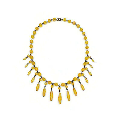 Art Deco Yellow Czech Glass Gold Tone Fringe Bib Style Necklace