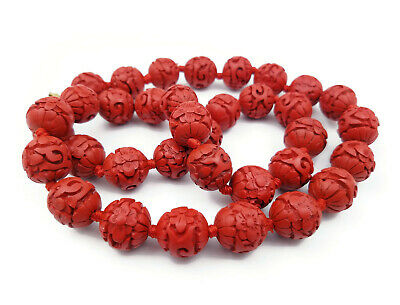 Vintage Chinese Red Cinnabar Double Hand Knotted Bead Necklace, Filigree Clasp