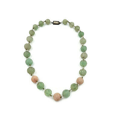 Chinese Green Pink Jade Necklace Shou Symbol Sterling Silver Vauxhall Glass