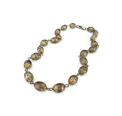 Antique Chinese Export Sterling Silver Hand Hammered Beads Long Necklace