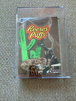 Travis Scott X Reese's Puffs Cereal Sealed In Acrylic Case! [Brand New]