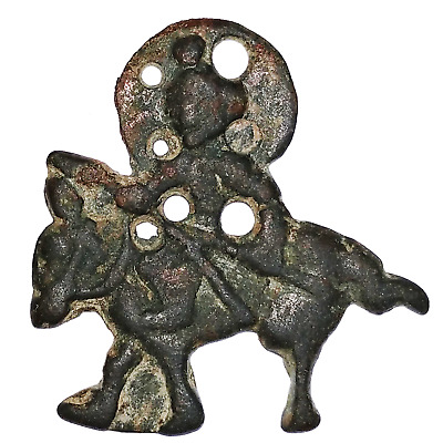 Qarakhanid, Central Asia, a bronze plaque in form of mounted warrior