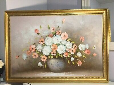 Large Vintage Oil Painting On Canvas Still Life Flowers in Vase L Johnson