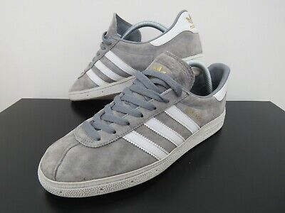 adidas ORIGINALS MUNCHEN TRAINERS RETRO SHOES SNEAKERS SUEDE SILVER MEN/'S