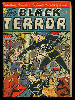 Black Terror #4 Schomburg Nazi WWII War Cover Golden Age Nedor Comic 1943 VG-