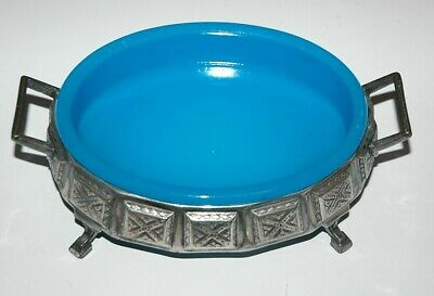 RARE Rhombic Design Art Deco Silver Plated Blue Opaque Glass Footed Relish Dish