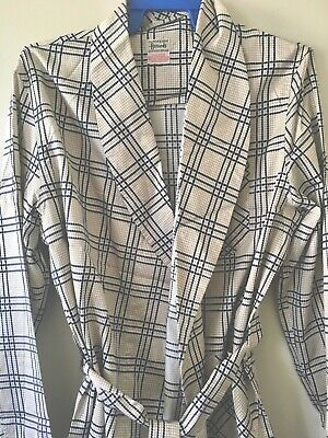 1970s HARRODS Smoking Jacket Gown Swiss Made 100% Cotton Navy Gold Check