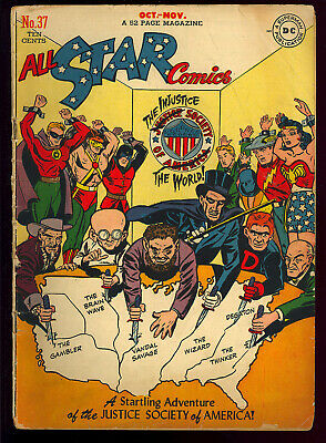 All Star Comics #37 (Glue) Wonder Woman Golden Age DC Comic 1947 App. GD+