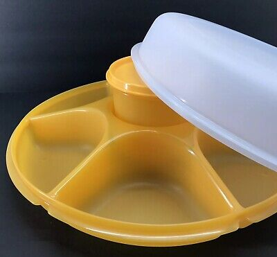 Tupperware Large Serving Center w/Bowl Divided Container Goldenberry #1665 New
