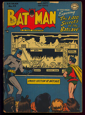 Batman #48 Nice Batcave Cover/Story Penguin Golden Age DC Comic 1948 GD-VG