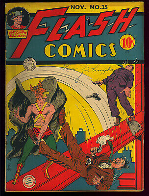 Flash Comics #35 Nice Unrestored Golden Age DC Superhero Comic 1942 VG+