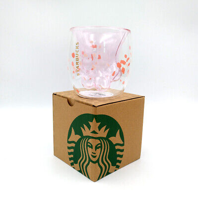 2019 Starbucks 6oz Double Wall Glass Mug Sakura Pink Cat's Paw Coffee Cup Hot