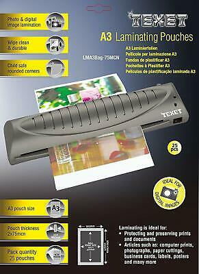 Texet A3 laminating pouches - Pack of 25