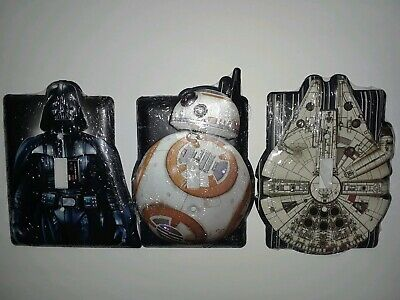 Star Wars light switch covers set of 3! Darth Vader, BB8, Millennium Falcon!