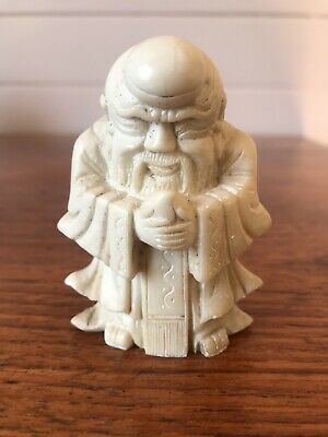 Vintage Carved Stone Figurine Chinese Wise Man Sage Asian Ornament