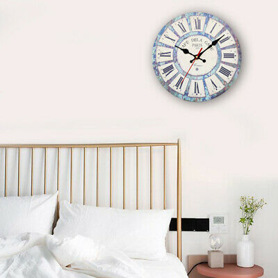 Large Vintage Wooden Wall Clock Shabby Chic Rustic Kitchen Home Antique-Style EA