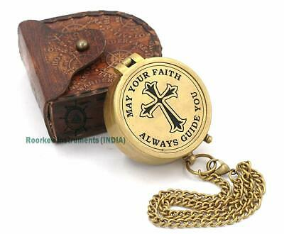 Engraved Compasses Brass Compass Clock Pool Poem Flat Brown Antique Piece