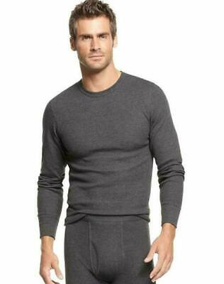 Thermal Underwear Undershirt Alfani Crew Long Sleeve Shirt Grey Charcoal New