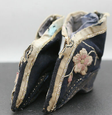 Antique Pair Of Stunning Hand Sewn Chinese  Bound Feet Shoes Circa Mid 1800s