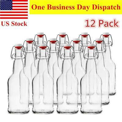 6 Pack Swing Top Clear Glass Bottle 16oz Beer Bottles Easy Cap Home Brewing