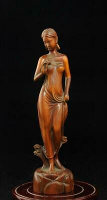 "7/"" Chinese old antique Boxwood wood carved Beauty statue Sculpture"
