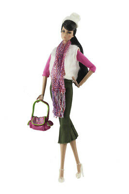 7in1 Set Fashion Outfit  top +Vest+pants+shoes+Bag+hat+scarf for 11.5 in. Doll