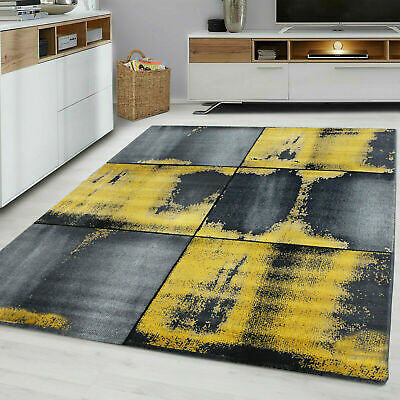 Squares 9320 Ochre Yellow Grey Mustard Gold Rug Floor Bedroom Large Carpet Rugs