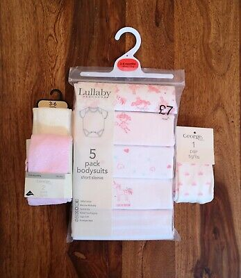Baby Girl 3-6 Months Pack Of 5 Vests & 3 Pairs Of Tights, Winter Bundle BNWT