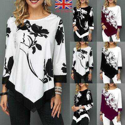 UK Women Irregular Floral Blouse Tee Top Ladies Long Sleeve Casual Loose T-Shirt