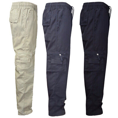 Men Male Lightweight Elasticated Waist Cargo Trousers Combat Work Pants Bottoms