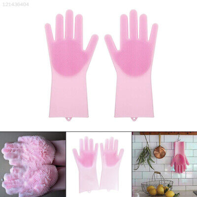 1Pair Magic Silicone Gloves Scrubber Gloves Dish Washing Pet Bathing Durable