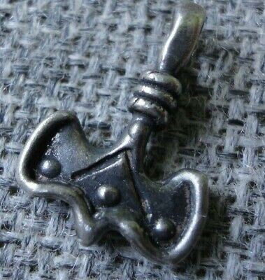 Ancient SILVER Viking Nordic Scandinavian Norse Thors Hammer Amulet Pendant RARE