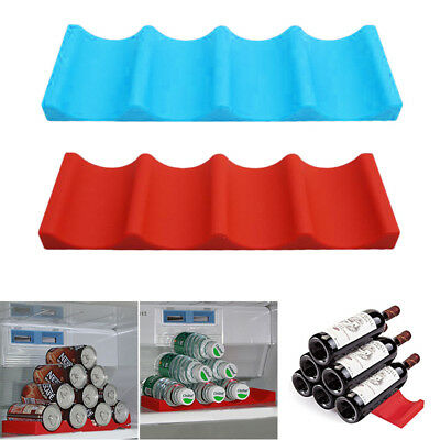 Silicone Fridge Can Beer Wine Bottle Rack Holder Mat Pad Stacking Bar Tidy Tool