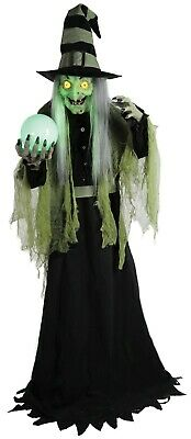 6ft Fortune Teller Witch Animated Lights Sound Motion Halloween Decoration Prop