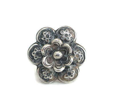 Antique Chinese Export Large Sterling Silver Flower Ring, Size 6