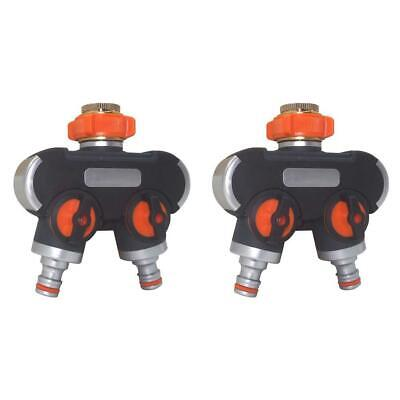 2 Way Y Shape Water Pipe Adapter Tap Hose Valve Splitter Quick Connector R1BO