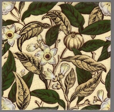 Sherwin & Cotton c1879 -  Arts & Crafts Floral - Antique Victorian Tile