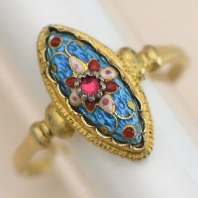 Antique Victorian Edwardian 800 Silver Bressan Enamel Marquise Glass 6.75 Ring