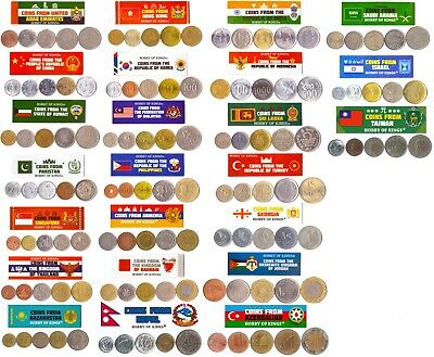 5 Different Coins From Countries In Asia And Middle East.old Currency Collection