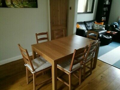 Ikea Bjursta Extendable Dining Table And 6 Chairs