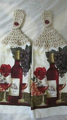 Brand New Crocheted Top Hanging Kitchen Towels Wine Bottles Mixed  Top