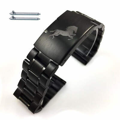 Black Steel Metal Replacement Watch Band Strap Stallion Horse Collection 5016-71